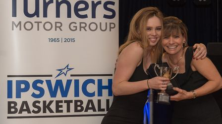 Frances Musson, left, won the female club person of the year award at the Ipswich Basketball Club Aw