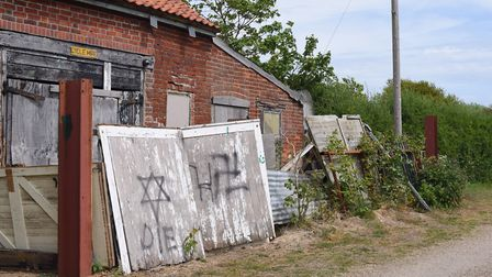 The offending graffiti in Aldeburgh.Picture:SARAH LUCY BROWN