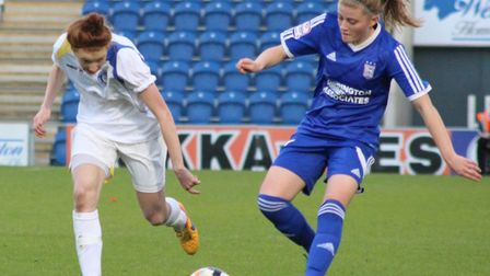 Hollie Clement was impressive for Ipswich Town Ladies in their Suffolk Women's Cup win. Picture: ROS