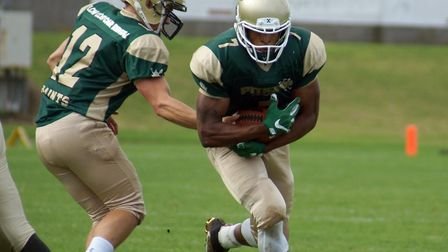 Cory Jenkins, right, scored a spectacular touchdown for the Bury Saints