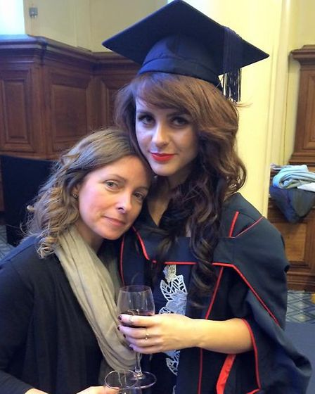 Rebecca Pizzey with mum Andrea at her master�s degree graduation. Picture: REBECCA PIZZEY