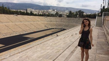 Rebecca Pizzey in the Panathenaic Olympic Stadium in Greece. Picture: REBECCA PIZZEY