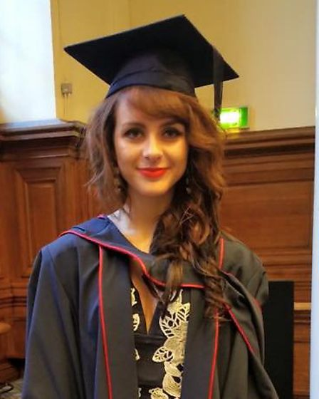 Rebecca Pizzey at her master's degree graduation in Central Hall, Westminster, in December 2015. Pic