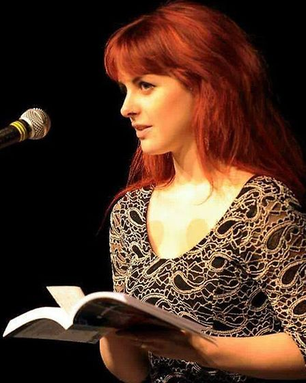 Rebecca Pizzey reading at the launch of Brunel University's inaugural short story anthology, The Voi