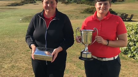 Sharon Luckman (left) runner-up with the Lady Ellis Silver Box and Suffolk champion Alice Barlow wit