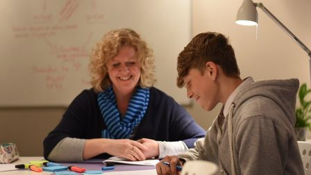 Sarah-Jane Page, from EASTuition, with student, Ed Kerman-Lane. Picture: RYAN KUHL