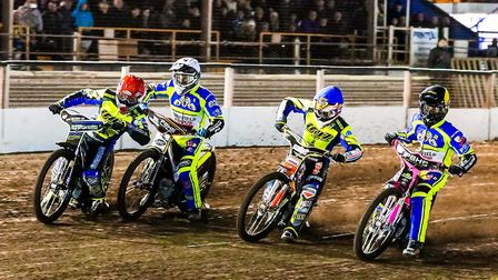 (L-R) Danny King, Josh Grajczonek, Connor Mountain and Josh Bates head into the first bend in heat o