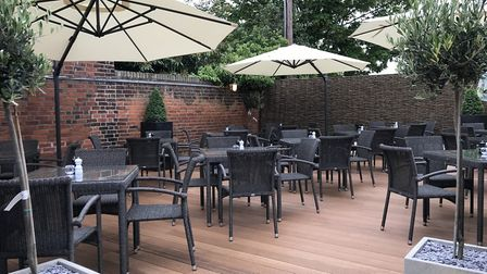 The new-look terrace area at The Crown at Woodbridge