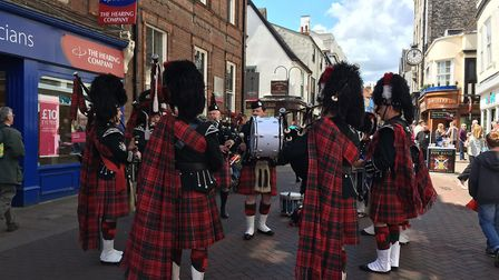 The Glenmoriston Pipe Band perform as part of the Bury St Edmunds Festival. Pictured in Abbeygate St