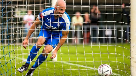 Matt Blake puts Leiston 3-1 up in the Leiston v Grays Athletic (Emirates FA Cup) match at Victory R