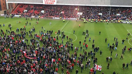 The pitch invasion at Leyton Orient this afternoon. Picture: CARL MARSTON