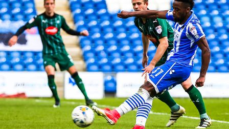 Tarique Fosu fires in a low shot during last weekend's 0-0 home draw against Plymouth. Fosu will be