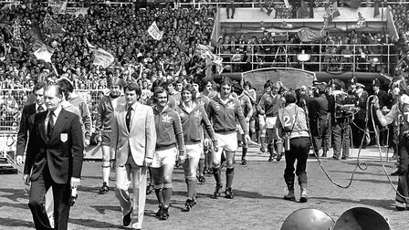 Sir Bobby Robson and Mick Mills lead Ipswich Town out for the 1978 FA Cup Final at Wembley.
