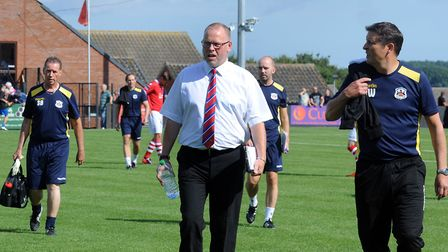 Richard Wilkins (right) will take over from Mark Morsley as Needham Market manager after tonight's g