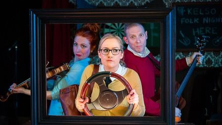 Hannah Howie as Prudencia with Elspeth Turner as Siolaigh and Simon Donaldson as The Devil in The St