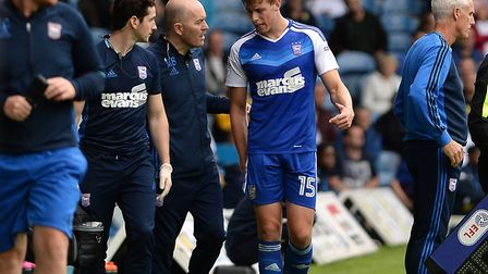 Adam Webster limps off at Elland Road with a hamstring injury, he later sustained an ankle injury th