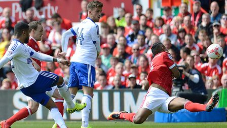 Dominic Samuel goes close with a first half chance at Nottingham Forest