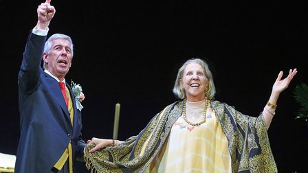Jeffery Holland and Nichola McAuliffe in Waiting For God at the New Wolsey Theatre. Picture: GERAIN