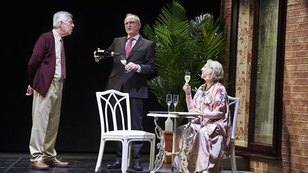 Jeffery Holland, David Benson and Nichola McAuliffe in Waiting For God at the New Wolsey Theatre. P