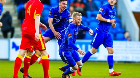 Frazer Blake-Tracey celebrates after levelling for Lowestoft to make the score 1-1 on Monday night.