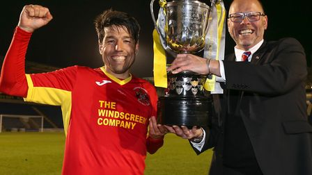 Celebrating a successful four years. Kem Izzet (left) and Mark Morsley smile after winning the Suffo
