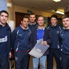 Jack Cook, centre, pictured in 2011 with members of the Ipswich Town football team when they visited