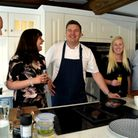 Celebrity chef Peter Sidwell demonstrating his culinary skills at the opening of the Laranza kitchen