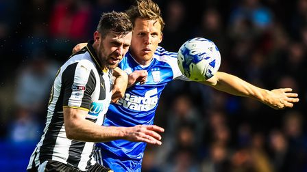 Christophe Berra battles with former ITFC teammate Daryl Murphy at Portman Road in the match against