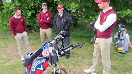 Suffolk players (from left) Chris Bartrum, team captain Jack Cardy, SGU president Colin Firmin and J