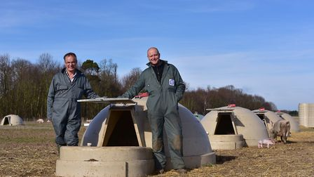 Adrian Lawson has launched a new type of pig housing called Aardvarks. Adrian Lawson and John Theo
