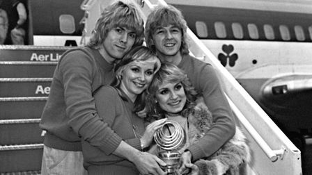 Bucks Fizz return to Heathrow in 1981 after winning the Eurovision Song Contest in Dublin with Makin