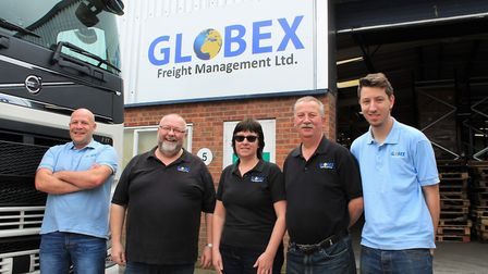 The Globex Freight Management team, from left, Carl Hawes, import operations supervisor, Shaun Ruddu