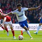 Jordan Spence goes past Forest's Ben Osborn on Sunday, in a game Town lost 3-0.