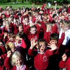 Staff and pupils at Hardwick Primary School in Bury St Edmunds celebrate their good Ofsted report. P