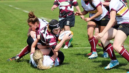 Bury Foxes' Natalie Palmer stretches to score for Eastern Counties.