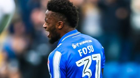 Tarique Fosu celebrates his and the U's second goal in the final day 2-0 win over Yeovil on Saturday