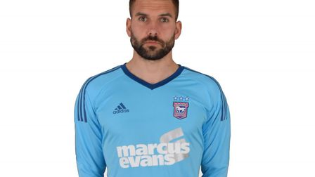Bartosz Bialkowski models the new Ipswich Town keeper kit for 2017/18. Picture: ITFC