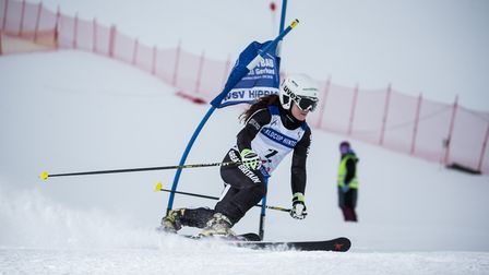 Telemark skier Jasmin Taylor negotiates a gate during a World Cup race. Picture: TUX FINKENBERG