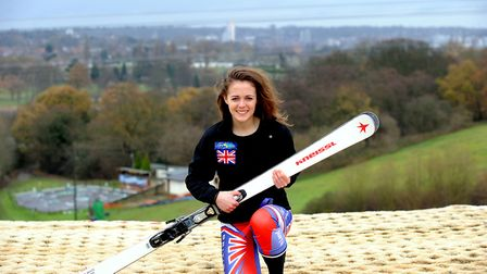 Telemark skier Jasmin Taylor on the dry ski slope in Ipswich, in 2011. Picture: ANDY ABBOTT