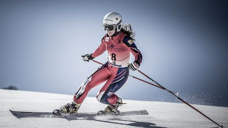 Jasmin Taylor in action during a Telemark grand slalom event. Picture: PIERRE RAPHOZ