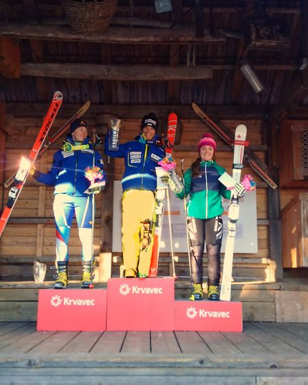 In the dual sprint event of a Telemark World Cup competition in Slovenia, Jasmin Taylor (in the pink