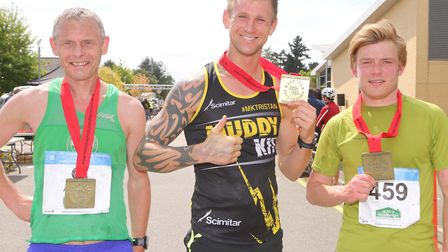 The top three finishers at Sunday's Halstead Marathon (from left): Colchester Hrriers' Allen Smalls