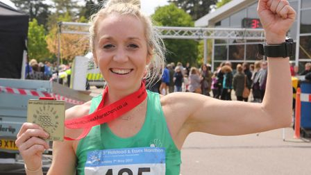 A delighted Marie Shirley after winning the ladies' title at the Halstead Marathon, smashing the cou