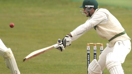 Mistley's Graham Butcher plays an attacking shot during his fine innings of 62 in a four-wicket defe