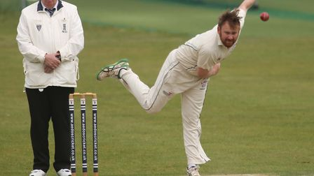 Hadleigh all-rounder Tom Piddington bowls a delivery during his side's win over Mistley. Piddington