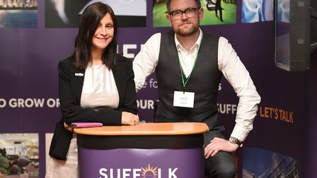 Vimmi Hayes and Ben Miller at the Suffolk County Council stand
