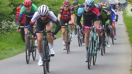 Colchester Rider Bob Longstaff takes the bunch sprint for 13th overall at the Pro Cycle Hire Road Ra