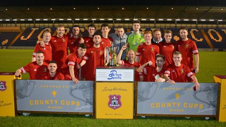 Stowmarket celebrate victory in the Suffolk Reserve Cup final. Picture: BEN POOLEY