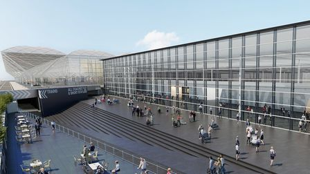 An artist's impression of the new arrivals building planned at Stansted Airport, with the existing t