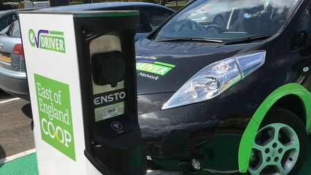 EV Driver's latest new charging point, at the East of England Co-op's new store at Acle. Picture: E